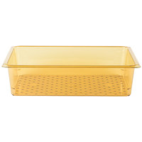 Cambro 15CLRHP150 H-Pan 5 inch Deep Amber High Heat Full Size Colander Pan