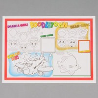 Hoffmaster 310692 10 inch x 14 inch Doodletown Fun Double Sided Interactive Placemat - 1000/Case