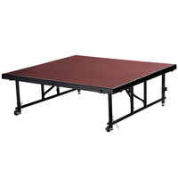 National Public Seating TFXS48482432C40 Transfix 48 inch x 48 inch Adjustable Portable Stage with Red Carpet - 24 inch to 32 inch Height