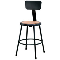 National Public Seating 6224B-10 24 inch Black Round Hardboard Lab Stool with Adjustable Backrest