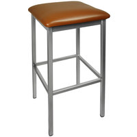 BFM Seating 2510BLBV-CL Trent Clear Coated Steel Bar Stool with 2 inch Light Brown Vinyl Seat