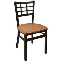 BFM Seating 2163CASH-SB Marietta Sand Black Steel Side Chair with Autumn Ash Wooden Seat