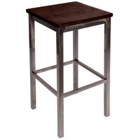 BFM Seating 2510BWAW-CL Trent Clear Coated Steel Bar Stool with Walnut Wooden Seat