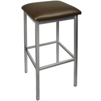 BFM Seating 2510BDBV-CL Trent Clear Coated Steel Bar Stool with 2 inch Dark Brown Vinyl Seat