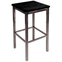 BFM Seating 2510BBLW-CL Trent Clear Coated Steel Bar Stool with Black Wooden Seat