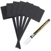 American Metalcraft TAGRECTAN Mini Rectangle Silhouette Chalkboard Pick and Marker Set - 5 / Pack