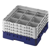 Cambro 9S638186 Navy Blue Camrack 9 Compartment 6 7/8 inch Glass Rack
