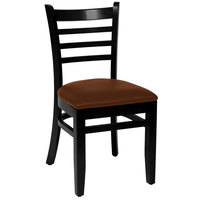 BFM Seating LWC101BLLBV Burlington Black Colored Beechwood Side Chair with 2 inch Light Brown Vinyl Seat
