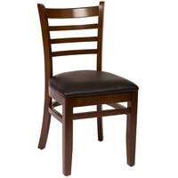BFM Seating LWC101WABLV Burlington Walnut Colored Beechwood Side Chair with 2 inch Black Vinyl Seat