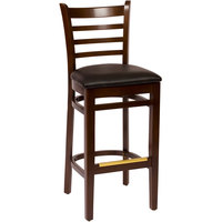 BFM Seating LWB101WABLV Burlington Walnut Colored Beechwood Bar Height Chair with 2 inch Black Vinyl Seat