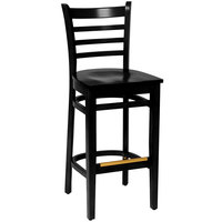 BFM Seating LWB101BLBLW Burlington Black Colored Beechwood Bar Height Chair