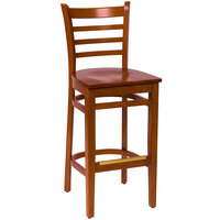 BFM Seating LWB101CHCHW Burlington Cherry Colored Beechwood Bar Height Chair