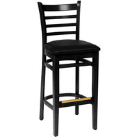 BFM Seating LWB101BLBLV Burlington Black Colored Beechwood Bar Height Chair with 2 inch Black Vinyl Seat