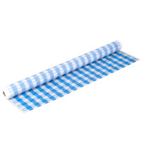Atlantis Plastics 2TCB300-GING 300' Blue Gingham Plastic Table Cover