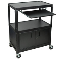 Luxor / H. Wilson AVJ42XLKBC Adjustable Height Black A/V Cart with Keyboard Shelf and Locking Cabinet