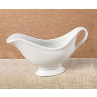 CAC SBT-20 White China Sauce Boat with Saucer 20 oz. - 24/Case