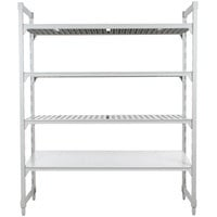 Cambro Camshelving Premium CPU183072VS4480 Stationary Starter Unit with 3 Vented Shelves and 1 Solid Shelf - 18 inch x 30 inch x 72 inch