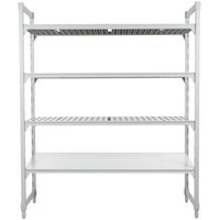 Cambro Camshelving Premium CPU183684VS4PKG480 Stationary Starter Unit with 3 Vented Shelves and 1 Solid Shelf - 18 inch x 36 inch x 84 inch