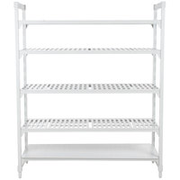 Cambro Camshelving Premium CPU182484VS5PKG480 Stationary Starter Unit with 4 Vented Shelves and 1 Solid Shelf - 18 inch x 24 inch x 84 inch