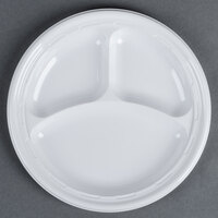Dart Solo 9CPWF 9 inch White 3 Compartment Famous Service Impact Plastic Plate - 500/Case