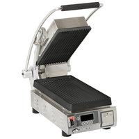 Star PGT7IE Pro-Max 2.0 Single 9 1/2 inch Panini Grill with Grooved Cast Iron Plates - Electronic Controls
