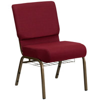 Burgundy 21 inch Extra Wide Church Chair with Communion Cup Book Rack - Gold Vein Frame