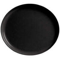GET SZIP001B BambooServe 11 1/2 inch x 10 1/4 inch Oval Bamboo Black Incline Plate - 12/Case