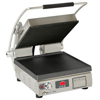 Star PGT28-ITGT Pro-Max Single 28 inch Panini Grill with Grooved Top and Smooth Bottom Cast Iron Plates - Electronic Timer