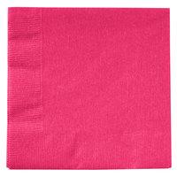 Creative Converting 139197154 Hot Magenta Pink 2-Ply Beverage Napkin   - 50/Pack