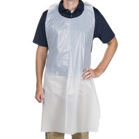 "Choice 46"" x 28"" Disposable Heavy Weight White Poly Apron   - 50/Box"