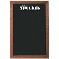 Aarco 36 inch x 24 inch Black Glass Menu Board with Walnut Stained Solid Oak Wood Frame and Today's Specials Decal