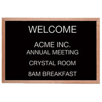 Aarco 12 inch x 18 inch Black Felt Open Face Horizontal Indoor Message Board with Solid Oak Wood Frame and 3/4 inch Letters