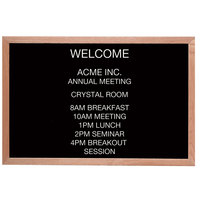 Aarco 24 inch x 36 inch Black Felt Open Face Horizontal Indoor Message Board with Solid Oak Wood Frame and 3/4 inch Letters