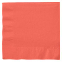 Creative Converting 663146B Coral Orange 2-Ply 1/4 Fold Luncheon Napkin - 50/Pack