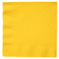 Creative Converting 591021B School Bus Yellow 3-Ply Paper Dinner Napkin - 25/Pack