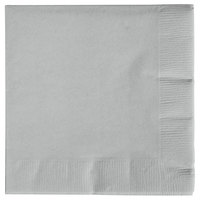 Creative Converting 573281B Shimmering Silver 3-Ply Beverage Napkin - 50/Pack