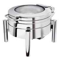 Eastern Tabletop 3979GS Jazz 4 Qt. Stainless Steel Round Induction Chafer with Pillar'd Stand and Hinged Glass Dome Cover
