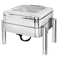 Eastern Tabletop 3977GS Jazz 4 Qt. Stainless Steel Square Induction Chafer with Pillar'd Stand and Hinged Glass Dome Cover
