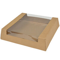 10 inch x 10 inch x 2 1/2 inch Kraft Auto-Popup Window Pie / Bakery Box   - 100/Case