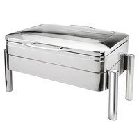 Eastern Tabletop 3975GS Jazz 8 Qt. Stainless Steel Rectangular Induction Chafer with Pillar'd Stand and Hinged Glass Dome Cover