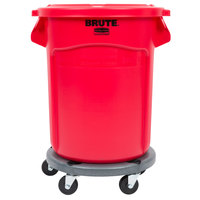 Rubbermaid BRUTE 20 Gallon Red Trash Can with Lid and Dolly