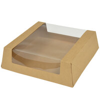 8 inch x 8 inch x 2 1/2 inch Kraft Auto-Popup Window Pie / Bakery Box   - 100/Case