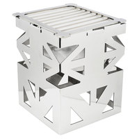 Eastern Tabletop 1742 LeXus 8 inch x 8 inch x 10 inch Stainless Steel Square Cube with Fuel Shelf and Grate