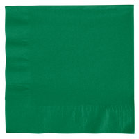 Creative Converting 139184135 Emerald Green 2-Ply 1/4 Fold Luncheon Napkin   - 50/Pack