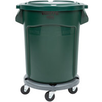 Rubbermaid BRUTE 20 Gallon Green Trash Can with Lid and Dolly