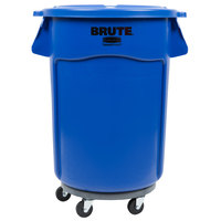 Rubbermaid BRUTE 44 Gallon Blue Trash Can with Lid and Dolly