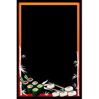 Rainbow Sign Mfg. RMV-2436-S 24 inch x 36 inch Black Marker Board with Sushi Graphic