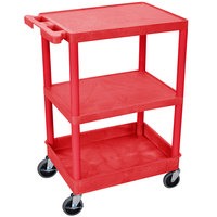Luxor / H. Wilson RDSTC221RD Red 3 Shelf Utility Cart - 1 Tub Shelf, 24 inch x 18 inch x 37 1/2 inch