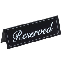 Cal-Mil 285 5 3/4 inch x 2 inch Black Double-Sided Vinyl Reserved Sign
