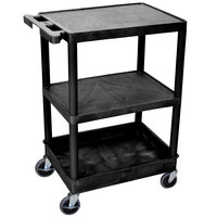 Luxor / H. Wilson STC221-B Black 3 Shelf Utility Cart - 1 Tub Shelf, 24 inch x 18 inch x 37 1/2 inch